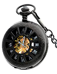 Mens Retro Black Skeleton Roman Mechanical Hand-wind Pocket Watch For Chain+Gift Box