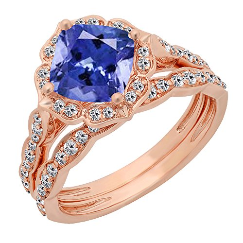 (Dazzlingrock Collection 14K 7.5 MM Cushion Tanzanite & Round Diamond Ladies Bridal Engagement Ring Set, Rose Gold, Size 4.5)