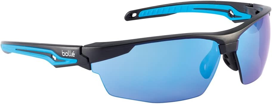Bolle Safety 40304, Tryon Safety Glasses Anti-Scratch, Black/Blue Frame, Blue Flash Lenses, Black & Blue, Universal