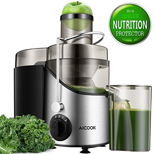 Juicer Juice Extractor, Aicook 3'' Wide Mouth Stainless Steel Centrifugal Juicer, BPA-Free, Non-Slip Feet, Three Speed Juicer Machine for Fruits and Vegetable by Aicook