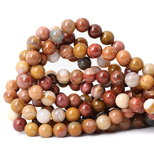 (Qiwan 35PCS 10mm Natural petrified wood Jasper Gemstone Smooth Round Loose beads for Bracelet Necklace Earrings Jewelry Making Crafts Design 1 Strand 15
