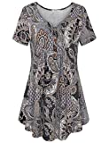 Bebonnie Tunic Tops for Leggings for Women, Women's Short Sleeve Loose Fit Tee Shirt Blouse Brown M
