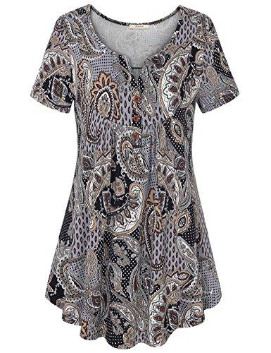 c, Women's Buttoned up V Neck Flowy Tank Top Swing Summer Shirts Brown XL (Paisley Print Tank)