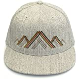Men's Hat - Mountain Range Illustration - Men's Flat Bill and Curved Bill Fitted & Snapback Options Available