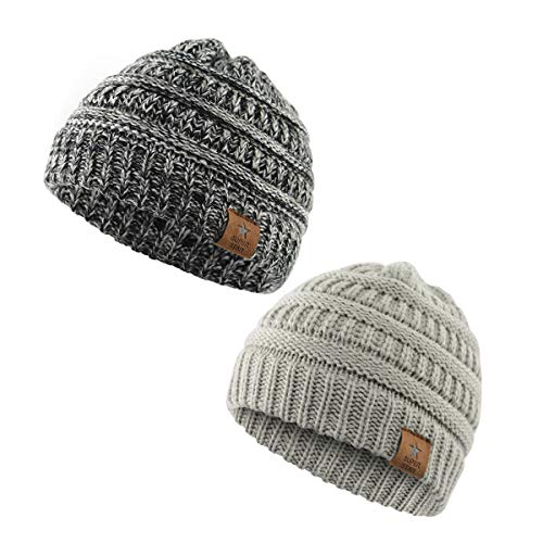 - Zando Infant toddler Winter Hats Warm Knit Baby Beanies Hats Caps for Boys and Girls 2 Pack: Oreo, Light Grey
