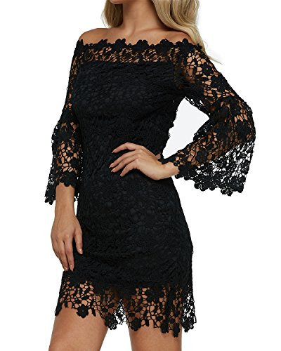 Auxo Women Off Shoulder Floral Lace Dress Vintage Crochet Bodycon Flared Sleeve Midi Party Cocktail Dressess Black L