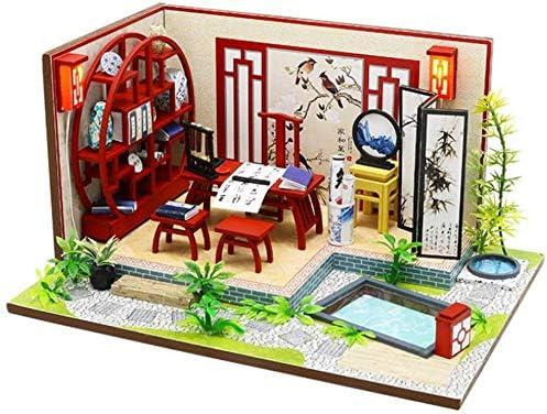 Gbksmm DIY Holz Puppenhaus Handmade Miniatur Puppenhäuser Geschenk Für Kinder Mädchen Erwachsene Spielset Spielzeug