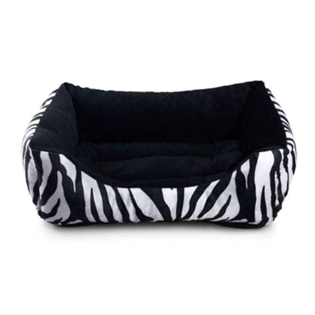 WuKong 19.5''x17.5''x7'' Thick Plush Pet Bed for Dogs Cats Rabbits House Nest (Zebra pattern)