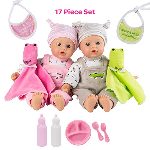 Adora Twin Baby Dolls, Later Alligator Twins Gift Set, 11 inch Soft Baby Dolls in Vinyl, 15 Pieces of Doll Accessories, Perfect Gift for Toddlers