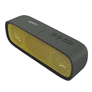 AUKEY Altavoz Portátil Bluetooth, Altavoz al Aire Libre Impermeable con 14 Horas de Tiempo de Reproducción, Aux-In y Micrófono Incorporado para iPhone, Samsung, HTC, iPad, Tabletas etc (Amarillo)