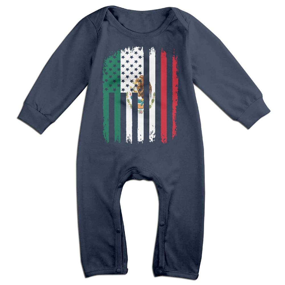 Mri-le1 Baby Girl Long Sleeve Jumpsuit Mexico American Flag Infant Long Sleeve Romper Jumpsuit