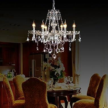 Ella Fashion® Luxurious Ornate Vintage Morden Crystal Candle Chandeliers Lighting 6 LED Lights Bathroom Pendant Ceiling Lights Fixture Lamp for Dining Living Room Bedroom Hallway Entry D23.6  X L47.2