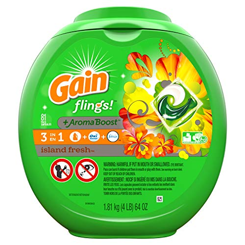Gain Flings! Laundry Detergent Pacs, Island Fresh, 81 Count (Packaging May Vary)