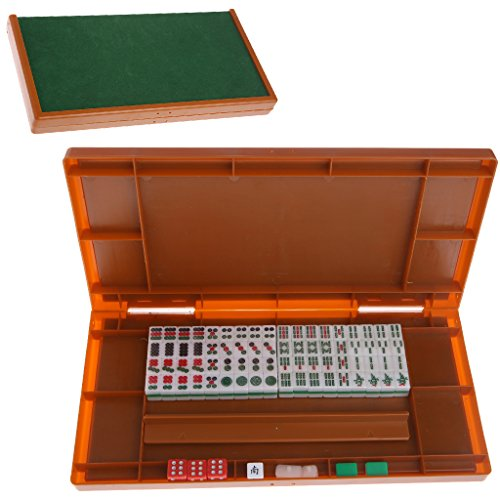 Hacloser HIPS Material Portable Mini 144 Mahjong Set with Foldable Table Traditional Entertainment Brain Activity Game