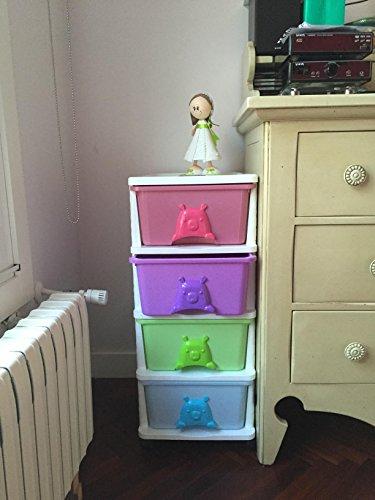Cassettiere In Plastica Per Bambini.Cassettiera Di Plastica Con 4 File Di Cassetti Con Ruote Maniglie A