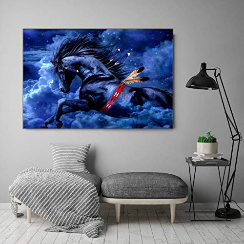 XLJ DIY 5D Diamond Painting Kits for Adults Home Wall Decor, Full Drill Diamond Painting for Kids, Crystal Rhinestone Diamond Embroidery Paintings Horse (11.8 x 15.8 in)
