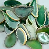 "FHNP367-5 Pieces Agate Slices Stone Slab 2""-3"" in Length for Wedding Name Cards Namecards Place Cards - Green"