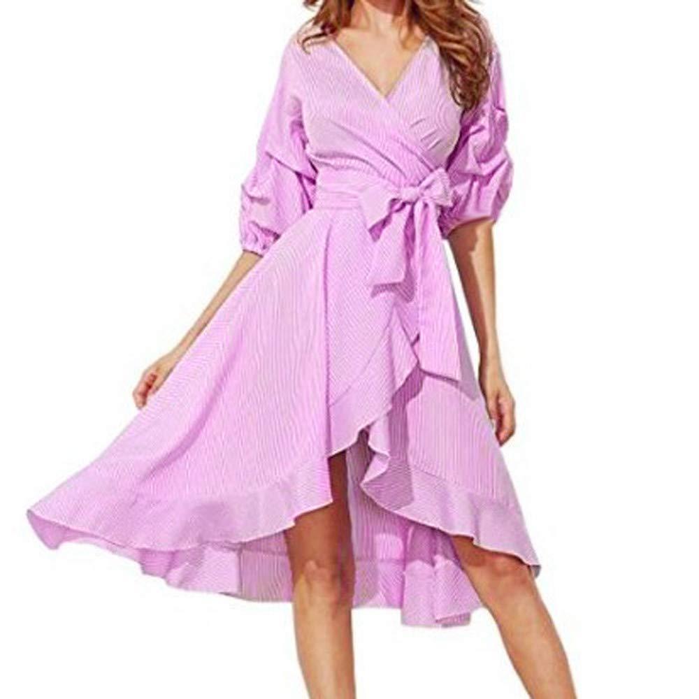 AMSKY Plus Size Maternity Dress,Women Fashion Striped V-Neck Puff Sleeve Asymmetric Bandage Dress,Lingerie, Sleep & Lounge,Pink,M