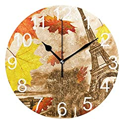 Wamika Vintage Paris Eiffel Tower Round Wall Clock Battery Operated Quartz Analog Autumn Red Leaves Background Clock Non Ticking Silent Acrylic Clocks for Home School Office