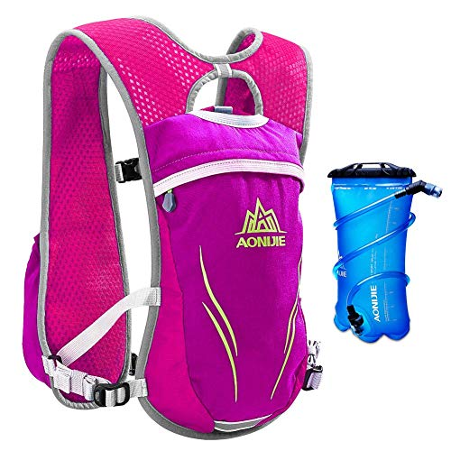 AONIJIE Running Hydration Vest for Hiking Cycling Hydration Backpack for Women and Men Lightweight Trail Running Backpack 5.5L (rosered-2L)