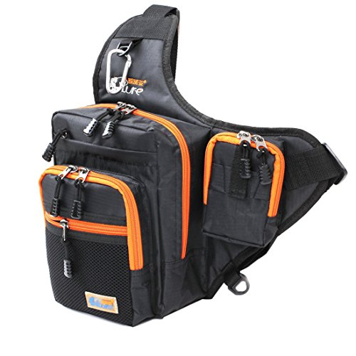 Ilure Multi-Purpose Waterproof Polyester Fishing Bag Carp Fishing Reel Lure Tackle Bag (Black) (Fishing Bag)