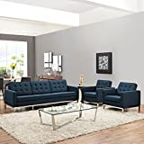Modern Contemporary Urban Design Living Lounge Room Sofa Set ( Set of Three), Navy Blue, Fabric