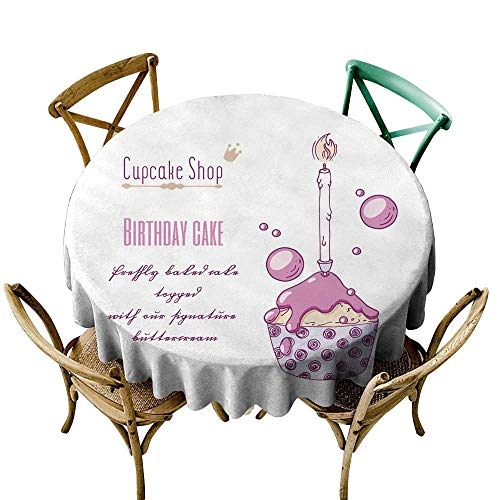 SKDSArts Rectangle Oblong Table Hand Drawn Festive Cupcake with Candle and Doodle Buttercream for Pastry Shop menu Special Birthday Flavor D70,for Accent Table ()