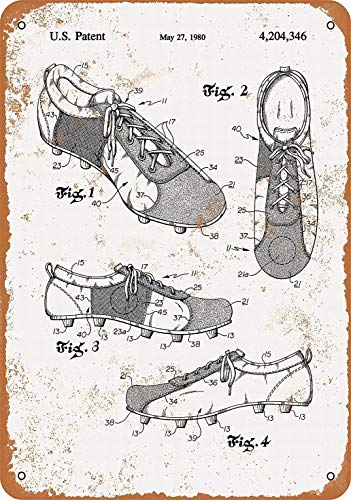 LoMall 8 x 12 Metal Sign - Soccer Shoes Cleats Patent - Vintage Wall Decor Art