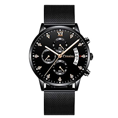 Mens Watch Deep Blue/Black Ultra Thin Wrist Watches for Men Fashion Waterproof Dress Stainless Steel Band from FIZILI