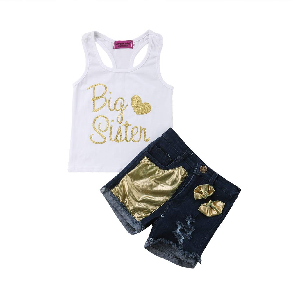Sequins Bow Ripped Holes Denim Shorts Pants 2Pcs Outfit Set Baby Girl Letter Print Sleeveless Vest Tank Top