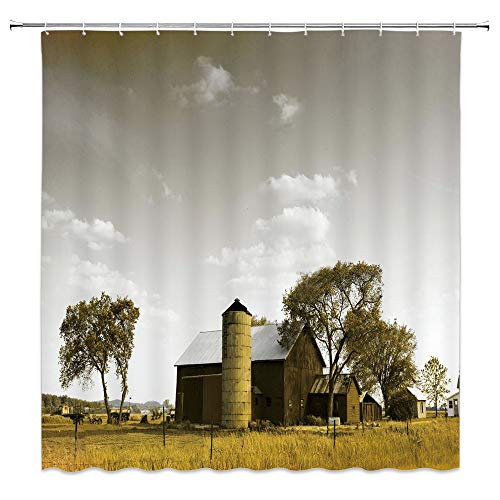 (jingjiji Apartment Decor Shower Curtain America Rural Landscape Farm Spring Tree Chalet Unique View Bathroom Decoration Curtains Polyester Fabric Waterproof with Hook 70 x 70)