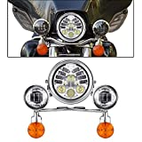 INNOGLO Motorcycle Driving Passing Spotlight Light Bar & Turn Signals Cruiser & Headlight (Chrome plated light bar)
