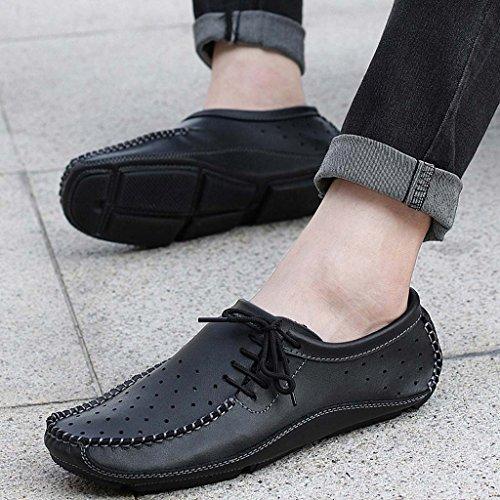 ZXCV Zapatos al aire libre Los zapatos ocasionales del color puro de los hombres calzan los zapatos de los hombres de los guisantes retros de los zapatos Negro