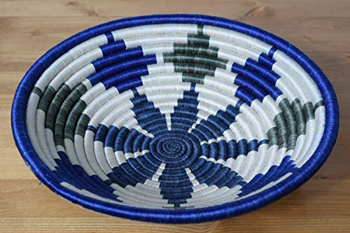 Hand Woven African Basket - Decorative Woven Bowl - African Gift - Sisal & Sweetgrass Basket Handmade in Rwanda ~11.5'' - White, Denim Blue, - Hand Woven Africa Basket