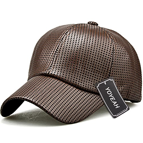 YOYEAH Men and Women Snapback Baseball Cap Leather Baseball Cap Outdoor Sports Mesh Hat Brown