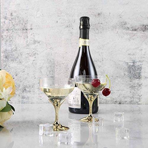 Efavormart 30 Pcs Disposable Clear Plastic Champagne Goblet for Wedding Birthday Party Banquet Events Cocktail Cups - Gold -