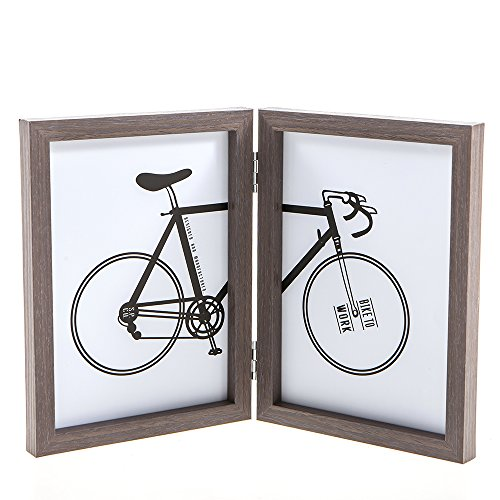 POPILION Decorative Foldable Double Vertical Opening Photo Picture Frames, 5'' x 7'' Wood Collage Hinged Table Desktop Stand With Glass Front by POPILION