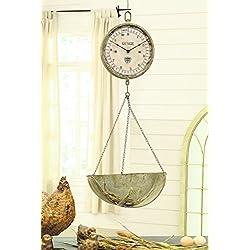 Creative Co-Op Metal and Wood Wall Scale Clock