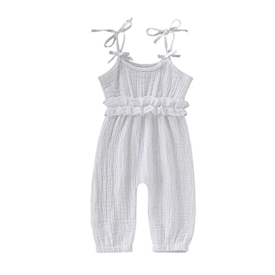 5daf41174a67 Mikrdoo Baby Girl Romper Cotton Linen Pink Jumpsuit Ruffled Solid Bodysuit Toddler  Girl Long Overall Clothes
