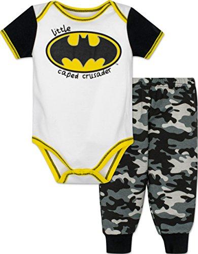 [Baby Boys' Batman Onesie and Camo Pants Set - White,