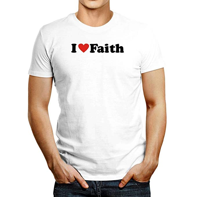 48b832f8 Idakoos I Love Faith Small Heart T-Shirt L White | Amazon.com