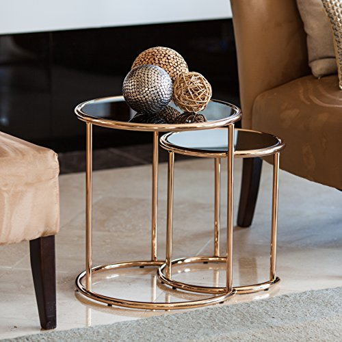 2-Pc Round Nesting End Table with Black Glass Top by Danya B