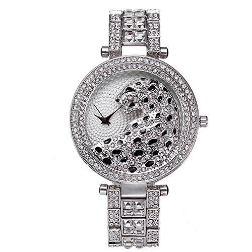 Sheli Women's Silver Stretch Bling Diamonds Waterproof Quartz Analog Watch