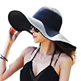 DRESHOW Straw Sun Hat Twist Bow Toquilla UPF 50+ Floppy Foldable Roll up Beach Cap Sun Hat For Women (Black)