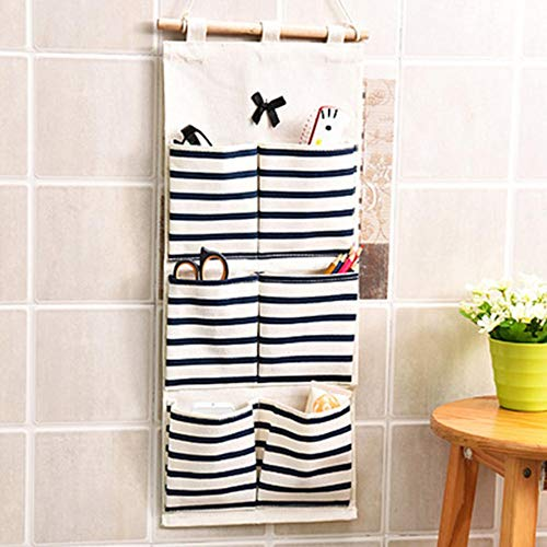 Striped Pockets Wall Door Closet Hanging Storage Bag Home Organizer (Difference Between Keyless And Remote Central Locking)