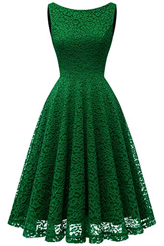 Bbonlinedress Women's Short Floral Lace Bridesmaid Dress V-Back Sleeveless Formal Cocktail Party Dress Green S