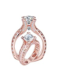 Newshe Jewellery 2ct Round White Cz 925 Sterling Silver Rose Wedding Engagement Ring Size 5-12