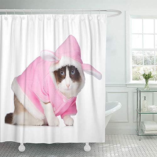 Emvency Shower Curtain Set Waterproof Adjustable Polyester Fabric Halloween Cat in Pink Rabbit Costume White Accessory Animal Bunny Cute Domestic 60 x 72 Inches Set with Hooks for Bathroom ()
