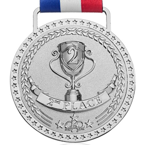 Place Award Trophy (2nd Place Winner Silver Award Medal, Bright Silver)