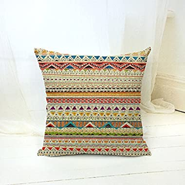 Bohemian Style Colorful Stripes Cotton Linen Throw Pillow Case Cushion Cover Home Office Decorative Square 18 X 18 Inches